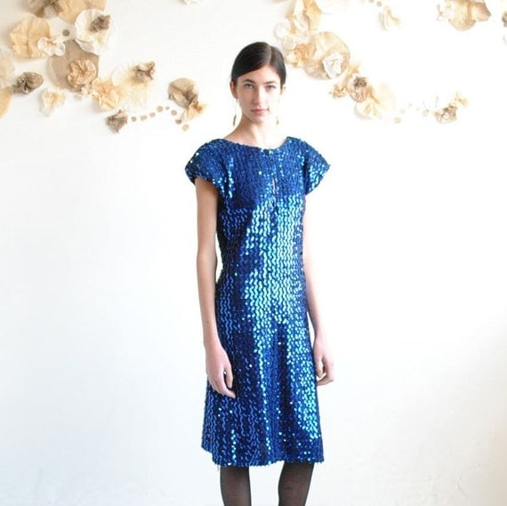 Sequin Dress  //  Prom Dress  //  PEACOCK BLUE