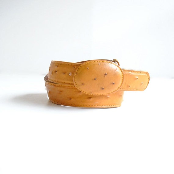 Ostrich Skin Belt  //  Mexican Leather Belt  // WHISKEY FLATS