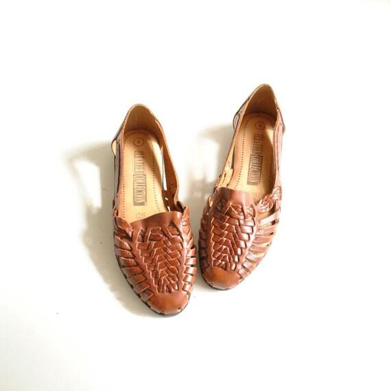 Huarache Sandals Sz 36.5  //   Woven Leather Sandals Sz 6  //  BRAZILIAN BEACH