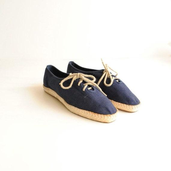 Espadrilles Sz 9  //  Navy Canvas Shoes  //  NAUTICAL ROPED