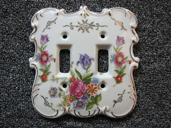 Antique Porcelain Light Switch Plate Cover Hand Painted