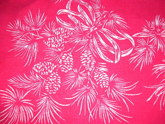 Vintage Christmas Tablecloth,Red Linen
