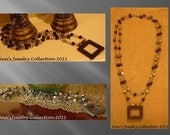 Black Square Onyx Pendant Necklace