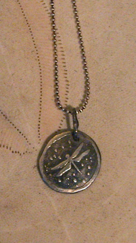 Dragonfly Pendant - Etched - Sterling Silver