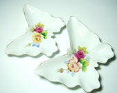 Vintage Lefton pair porcelain butterfly shaped  hand painted dishes