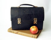 Vintage Industrial Black Dome Metal Lunch Box