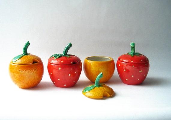 Vintage Jam Jars Strawberry and Orange - set of 4 in a basket