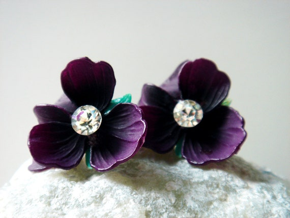 Vintage Pansy Celluloid Rhinestone clip on earrings