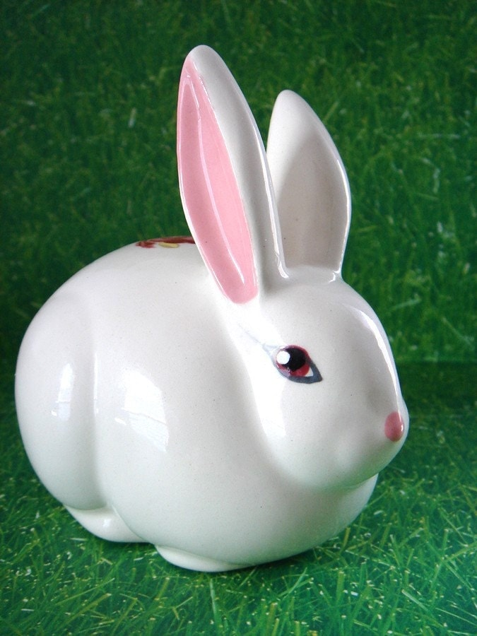 Vintage Bunny Cotton Ball Dispenser By Vintageer On Etsy