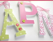 Set of 3 Wooden Letters - VALUE PRICED Six-Inch Block Style - Custom Nursery Decor, Any Color Scheme,  Baby shower gift, Initial Design