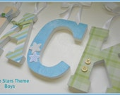Nursery Wooden Letters - LITTLE STARS - Boys - Coord. with PB Kids Patchwork Stars Bedding-avail in any size or font in this shop