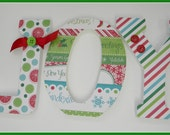 Christmas Home Decor Wooden Letters - JOY - Red White and Green