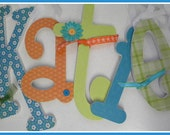 Childrens Room Decor Wooden Letters -Turquoise Orange and Lime Theme-avail in any size or font in this shop