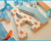 Boy Nursery, Wall Letters, Turquoise and Orange, Baby Custom Wood Letter, Personalized Decor, avail in any size or font