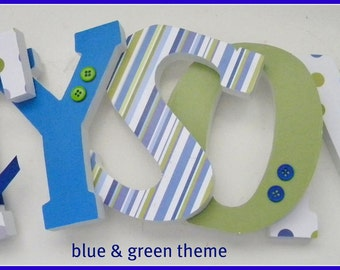 Wooden Letters, Wall letters - Blue and Green Theme, Boy Nursery Decor,  Baby Boy Name Letter