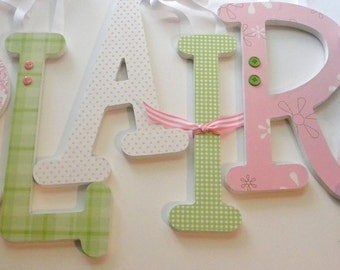 Wood Letters for Nursery -6 Wooden Letters -TEN INCH Letters in choice of fonts- set of 6