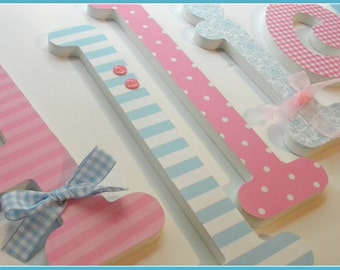 Wooden Letters, Baby Girl Name, Light PINK and BLUE Theme, Nursery Name Decor, Custom Wood Letter, Personalized Art