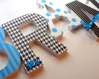 Baby Boy, Nursery Wall Letters  - BRANTLEYS Theme - Turquoise, Black and White, Modern Nursery, Boys Room decor