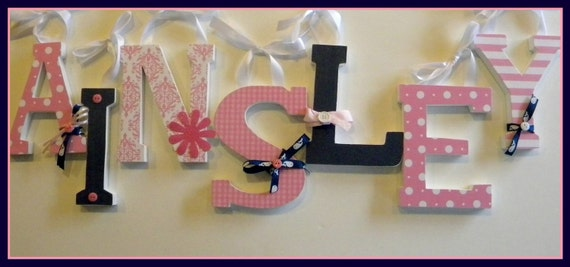 7, Wooden Letters, Wood Letter Nursery Decor, VALUE PRICED,  Six Inch, Free Standing, Baby Name - Custom Colors