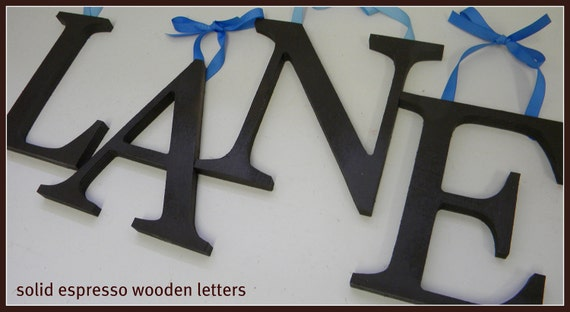4 Solid Painted Wooden Wall Nursery Letters - 4 12 inch Georgia or Whimsical font - available in several colors and other sizes