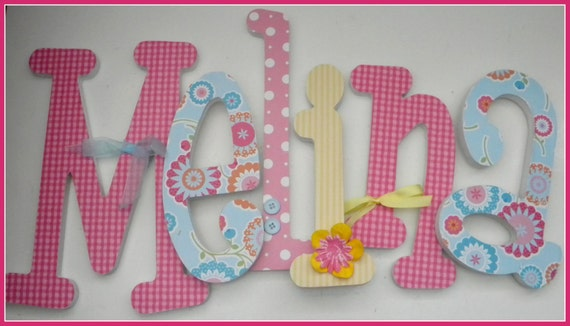 Floral Nursery Decor, Wooden Letters, Baby Girls,  FLOWER FUN, Wood Letter, Name Hanging Sign, avail in any size or font in this shop