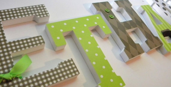 Baby Nursery,  Wall Letters, Wooden Letter Decor, CHOCOLATE AND LIME, Brown and Green, Baby Boy Name, any size or font in this shop