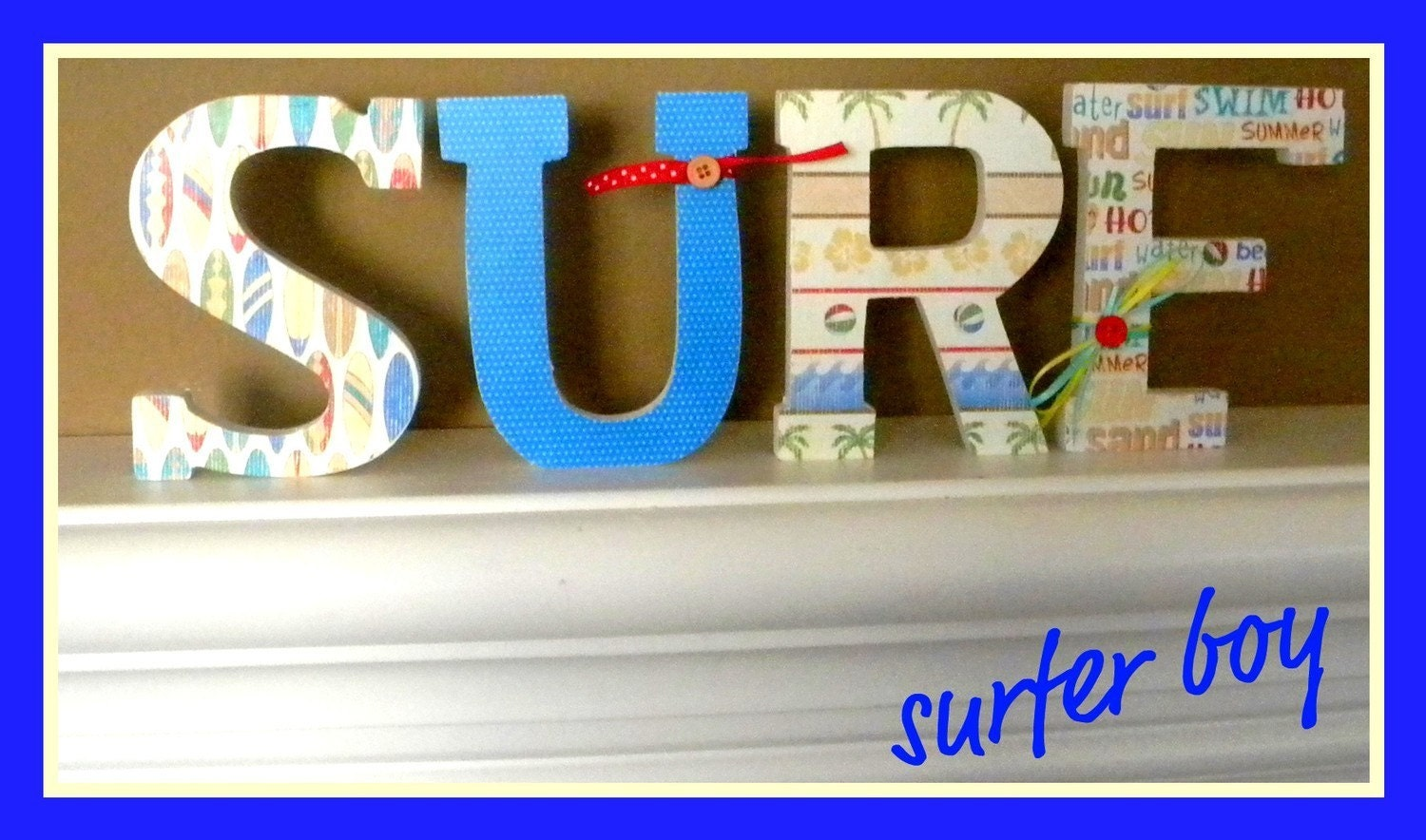 Custom Wooden Letters SURFER BOY Theme Nursery By Dwellingonline. Full resolution‎  photograph, nominally Width 1500 Height 884 pixels, photograph with #0305C8.