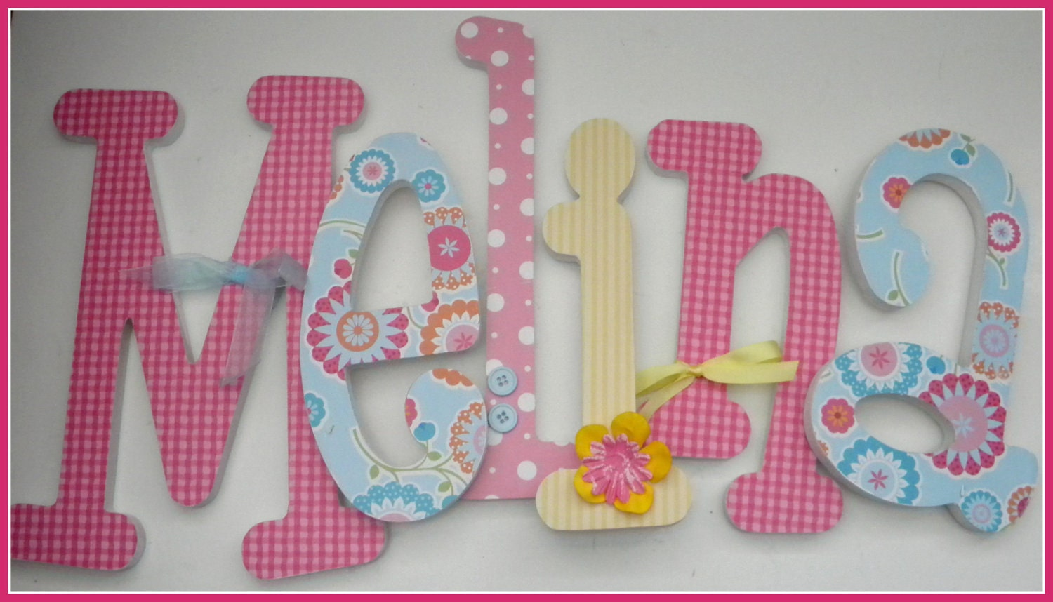 Floral Nursery Decor Wooden Letters Baby Girls FLOWER FUN