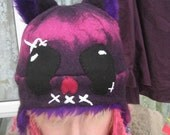 Creepy but Cute Animal Ear Hat - Purple Merino Wool Hand Felted Teen\/Adult sized