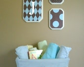 Blue and Brown Argyle Set of 3 Nursery Plaques