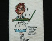 SALE Embroidered Microfiber Kitchen Towel - JJ Desperate Housewife - Pizza