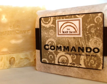 SOAP - COMMANDO - Unscented Soap with Organic Oils and Shea Butter by Man Cave Soapworks