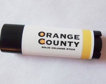 Solid Cologne Stick - ORANGE COUNTY - Juicy, Citrus scent by Man Cave Soapworks-ships FREE to U S