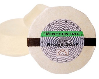 SHAVING Soap - MINTCENTRIC - Shaving Cake - refill for your skuttle mug too by Man Cave Soapworks