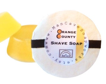 SHAVE Soap -ORANGE COUNTY - with Bentonite Clay and Moisturizing Shea Butter - refills for shaving mugs too by Man Cave Soapworks