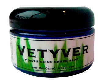 SHAVE Soap in a Jar - VETYVER - Wet Shave with Bentonite Clay and Shea Butter by Man Cave Soapworks