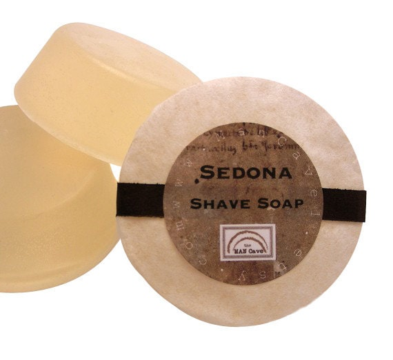 SHAVE SOAP for Men - SEDONA - Handmade with Bentonite Clay and Moisturizing Shea Butter - refills for shaving mugs too by Man Cave Soapworks