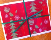 Set of 6 Green and Red Christmas Cards - Small Card, Gift Enclosure, Gift Tag, Thank You