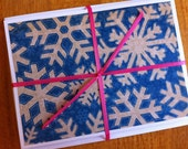 Set of 6 Blue Winter Snowflake Cards - Small Card, Gift Enclosure, Gift Tag, Thank You