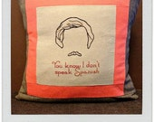 Ron Burgundy Hand-Embroidered Pillow