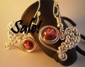 SALE  Quilted Heart - earrings with silver and red beads