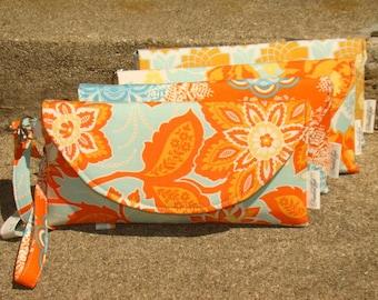 Orange and Aqua ... Bridesmaids Clutches ... Custom Set of 4