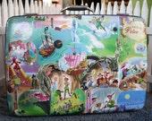 Decoupaged suitcase Peter Pan Tinker Bell Mercy Watson pig