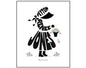 Personalized Little Girl Silhouette Print, Custom Flower Girl Gift, Country Girl Art