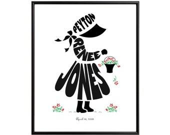 Little Girl or Little Boy Silhouette Print Personalized, Custom Framed Art, Birthday Gift for Children