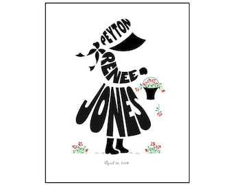 Personalized Little Girl Silhouette Print, Flower Girl Gift, Custom Girls Birthday Gift