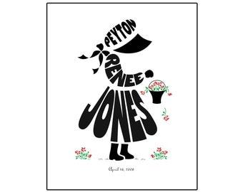 Personalized Little Girl Silhouette Print - Unframed 8x10 Name Art