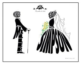 Personalized Sunflower Wedding Silhouette Print, Bride and Groom Name Art, Custom Wedding Gift
