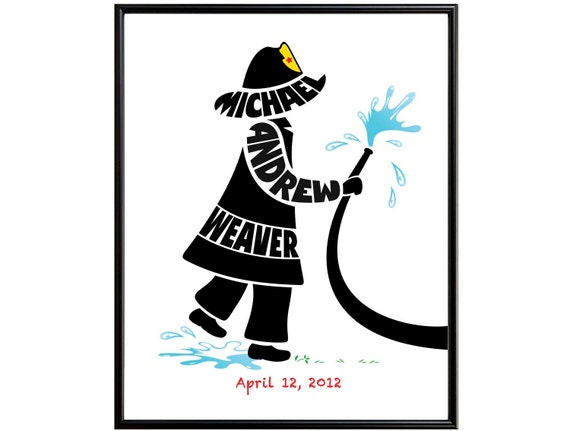 Personalized Little Boy Fireman Print, Custon Boy Name Art, Fireman Wall Art, Fireman Nursery Decor