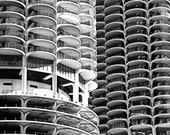 Round Lives Framed Square - square black and white print up to 12x12 - architectural photography, modern Chicago, Marina City
